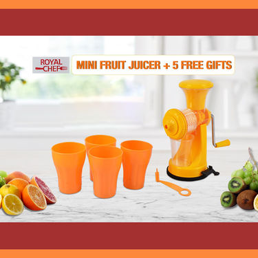Mini Fruit Juicer + Free 4 Glass + Free Spiral Cutter