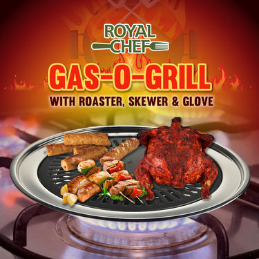 Royal Chef Gas-Grill with Roaster, Skewer & Glove