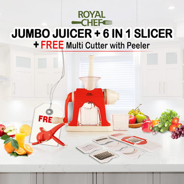 Royal Chef Jumbo Juicer + 6 in 1 Slicer + Free Multi Cutter with Peeler