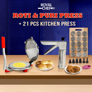 Royal Chef Roti & Puri Maker + 21 Pcs Kitchen Press