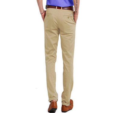 Perfect Plain Slim Fit Cotton Chinos For Men_skc6009 - Beige