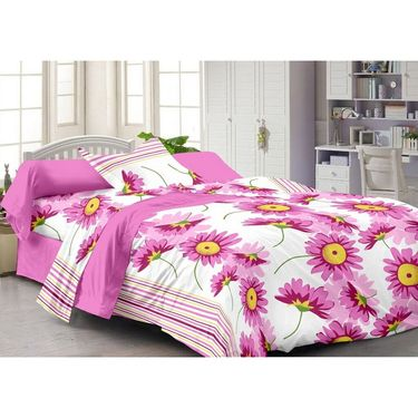 Set of 3 Cotton Single Bedsheet With 3 Pillow Cover-SP_1212_1214_1215