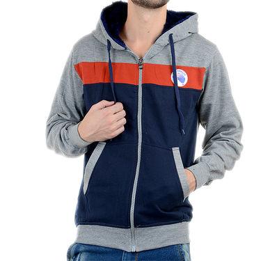 Blended Cotton Full Sleeves Sweatshirt_Swdl20 - Denim Blue & Grey