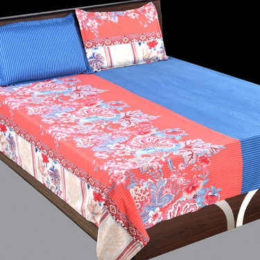 Satin Feel Designer 5 Double Bedsheets with 10 Pillow Covers (5BS2)