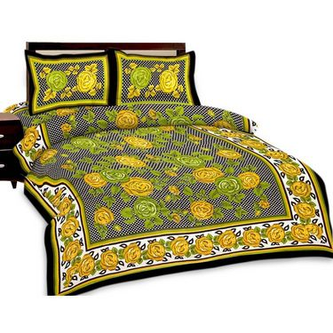 Set of 3 Jaipuri Print Double Bedsheets with 6 Pillow Covers-SRA3DB-3