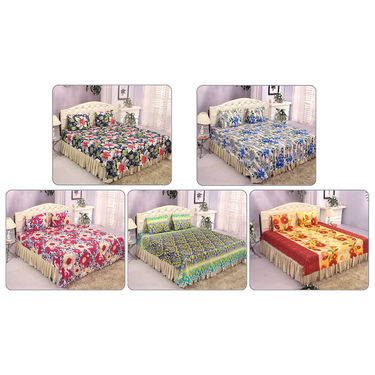 5 Cotton Blend Double Bedsheets + 10 Pillow Covers (5BS25)
