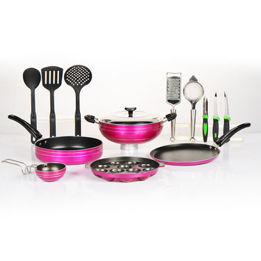 14 Pcs Non Stick Cookware Set with Kitchen Utility Combo
