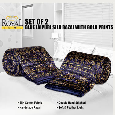 Set of 2 Blue Jaipuri Silk Razai with Gold Prints