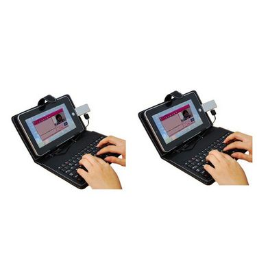 Vox Set of 2 Universal 7inch Tablet Leather Case with inbuilt Keyboard
