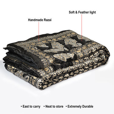 Set of 2 Black Jaipuri Silk Razai with Gold Prints