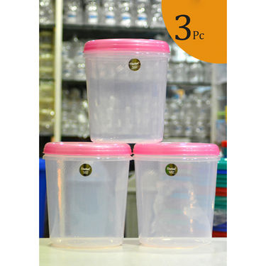 Chetan Set of 3 Pcs (10Ltr Each) Plastic Airtight Kitchen Storage Containers - Pink