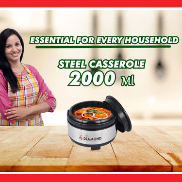 Set of 3 Stainless Steel Insulated Casserole