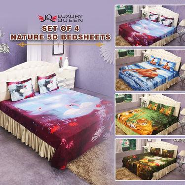 Set Of 4 Nature 5D Bedsheets (4DBS1)