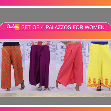 Set of 4 Palazzos for Women by Stylexa (4P3)