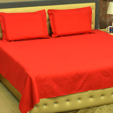 Set of 4 Solid Bedsheets with 8 Pillow Covers