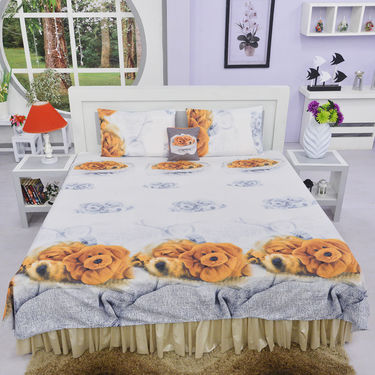 Set of 5 Festive Nature's Love 3D Print Bed Sheets with 10 Pillow Covers & 5 Cushion Covers