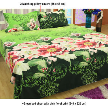 Buy set of 5 floral 3d bed sheets with 10 pillow covers for Best color bed sheets