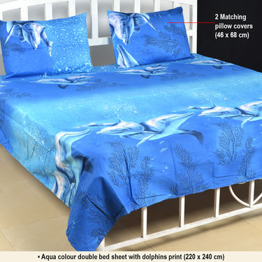 Buy Set Of 5 Nature S Love 3d Print Bed Sheets With 10