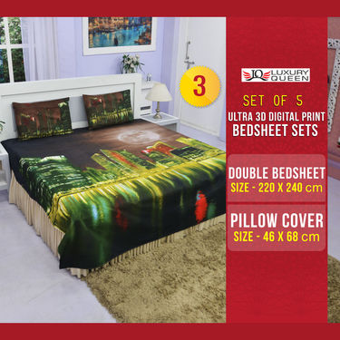 Set of 5 Paradise Ultra 3D Digital Print Bedsheet Set (5BS50)