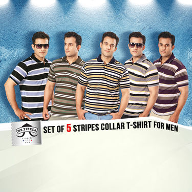 Set of 5 Stripes Collar T-shirt for Men by Mr. Tusker (5ST1)