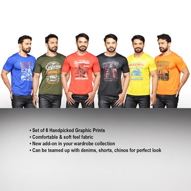 Set of 6 Printed Round Neck T-shirts for Men by Mr. Tusker