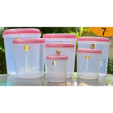 Chetan Set of 7 Pcs Plastic Airtight Kitchen Storage and Food Grade Containers - Pink