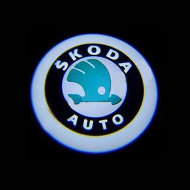 Set of 2 pcs Branded Car Door Welcome Light LED Projection Ghost Shadow Light Laser Skoda Logo