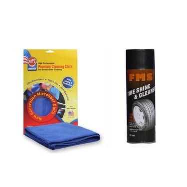 Fms Auto Tyre Shine And Cleaner 600ml With Abro Microfiber Cloth- Shine And Cleaner-2