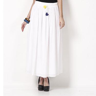 ShopperTree Plain Maxi Skirt for Girl - White