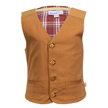 ShopperTree Plain Waist Coat for Boy - Brown