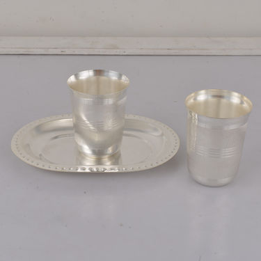 Silver Plated 3 Pcs Serving Tray with Glass Set