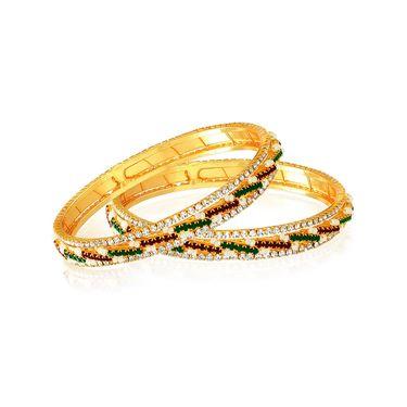 Spargz American Diamond Designer Bangle - White, Maroon & Green _AIB033