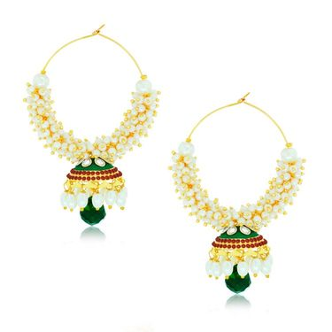 Spargz Pearl Jhumki Earrings - Multicolour _AIER417