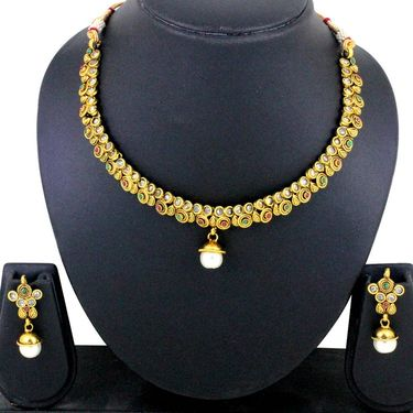 Spargz AD Stone Pearl Necklace Set - Multicolour _ AINS069