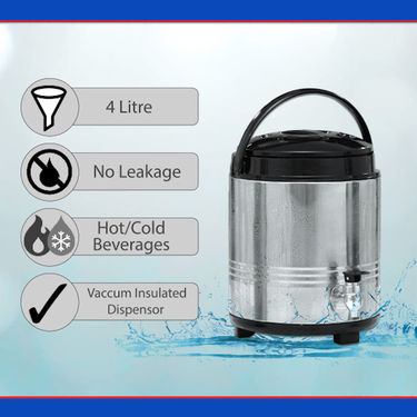Stainless Steel Water Dispenser with 4 Steel Bottles