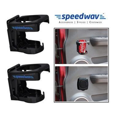 Speedwav Foldable Car Drink / Can / Glass / Bottle Holder (set of 2)- Black