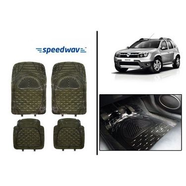 Speedwav Transparent Black Car Floor / Foot Mats - Renault Duster