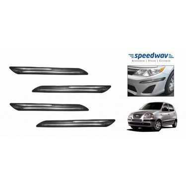 Speedwav Car Black Twin Chrome Bumper Scratch Protector-Hyundai Santro New