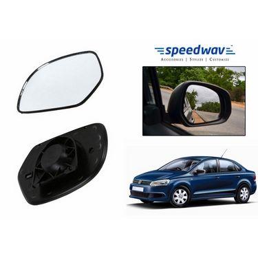 Speedwav Car Rear View Side Mirror Glass LEFT-Volkswagen Vento