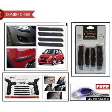 i-pop Black Door Guard, Black Car Bumper Guard, Tyre Punture Kit + Keychain