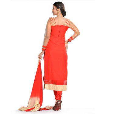 Suhani Partywear Designer Dress Material by Zuri (DDM1) - Red