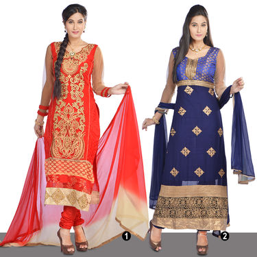 Suhani Partywear Designer Dress Material by Zuri (DDM1) - Red or Navy Blue