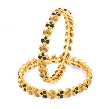 Sukkhi Beguilling Gold Plated Bangles - Black & Golden - 1007B-MR-BLACK-LCT-1000