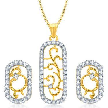 Sukkhi Eye-Catchy Gold & Rhodium Plated Pendant Set - White & Golden - 4068PSCZL1210