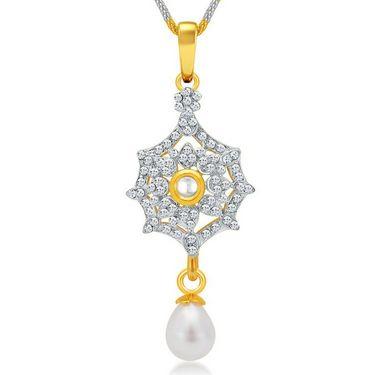 Sukkhi Elegant Gold & Rhodium Plated Pendant Set - White & Golden - 4076PSKDV1250