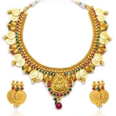Sukkhi Shimmering & Blossomy Gold Plated Necklace Set - Golden - 2106NGLDPL3000