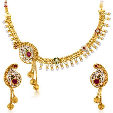 Sukkhi Beguilling Gold Plated Necklace Set - Golden - 2118NGLDPV2000