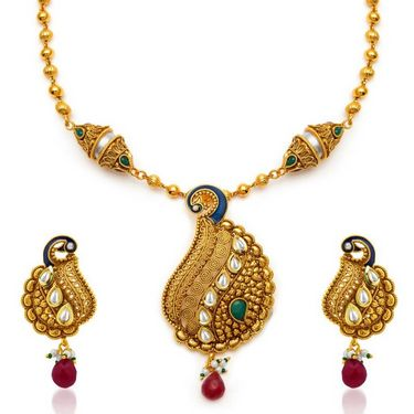 Sukkhi Beguiling Antique Gold Plated Necklace Set - Golden - 2141NKDS3650
