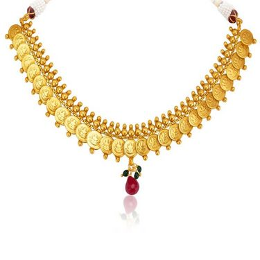 Sukkhi Moddish Gold Plated Necklace Set - Golden - 2148NGLDPL2500
