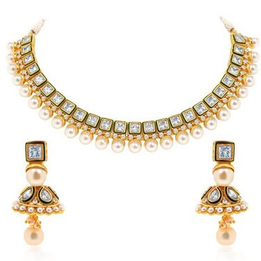 Sukkhi Enchanting & Fascinating Gold Plated Necklace Set - Golden - 2158NADV3250